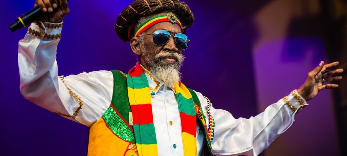 Reggae singer Bunny Wailer is on stage