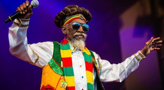 Reggae singer Bunny Wailer is on stage
