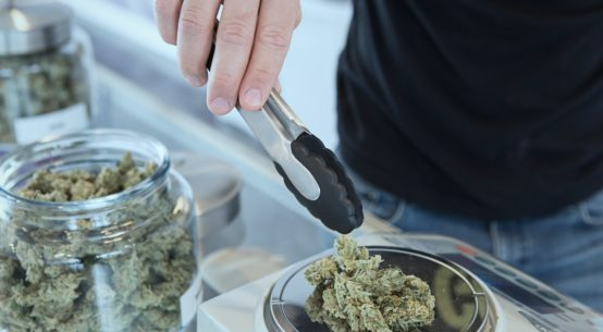 A man is weighing out cannabis onto a scale in a dispensary