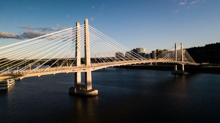 The Tilikum Crossing Bridge spanning the Willamette River