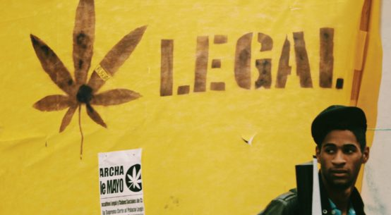 A young Black man with a backpack stands in front of a yellow banner behind him which reads Legal next to a cannabis leaf
