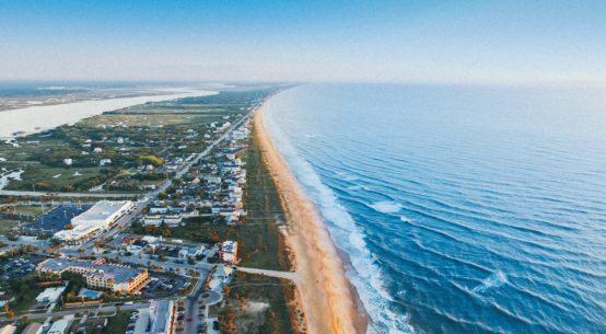 An Ariel photo of a Florida beach coastline