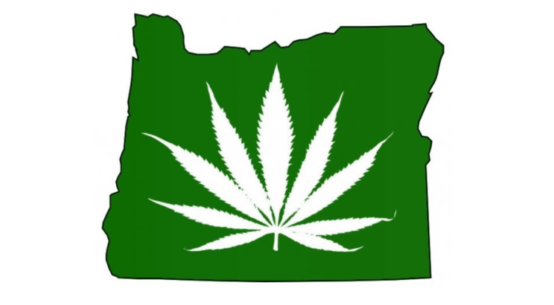 An image of a cannabis leaf superimposed over an outline of the State of Oregon