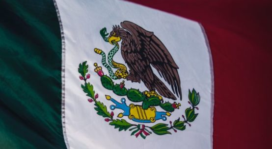 A close up of the flag of Mexico